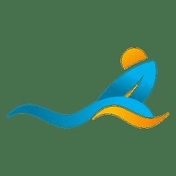 Wave surfing beach logo
