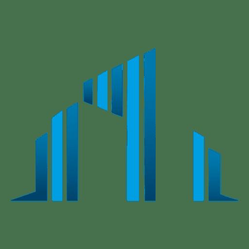 Blue bars buildings icon