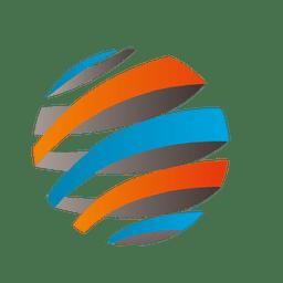 3d colorido listras orbitam ícone