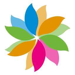 Colorful floral leaf icon