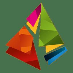 Isotipo de triângulos de prisma colorido