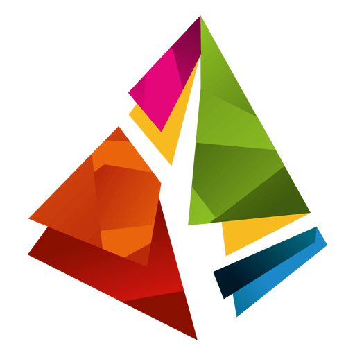 Isotipo de triángulos prisma colorido