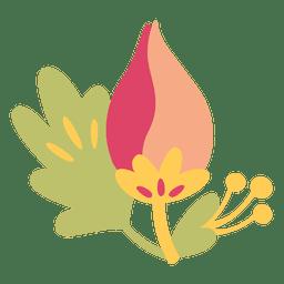 Planta de ilustração de doodle de flores planas