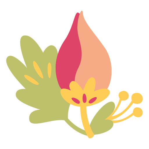 Flat flower doodle illustration plant Transparent PNG