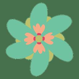 Ilustração verde do doodle da flor
