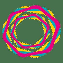 Icono de trazos hexagonales de colores