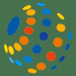 Ícone de globo de bolhas multicolor
