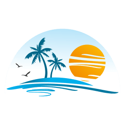 Logotipo del paisaje de la isla de la playa