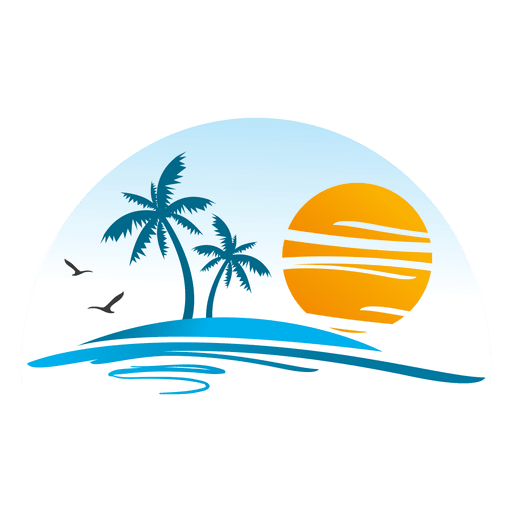 Logotipo de paisagem de ilha de praia