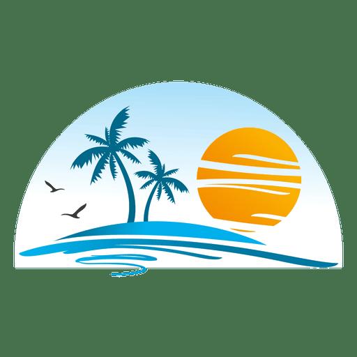 Logotipo de playa isla paisaje