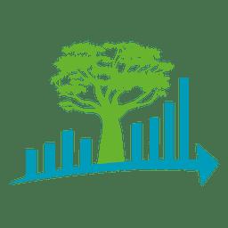 Icono de flecha de árbol de espacio de ciudad