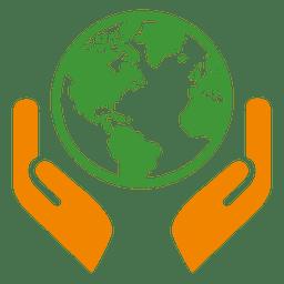 Icono de las manos del globo