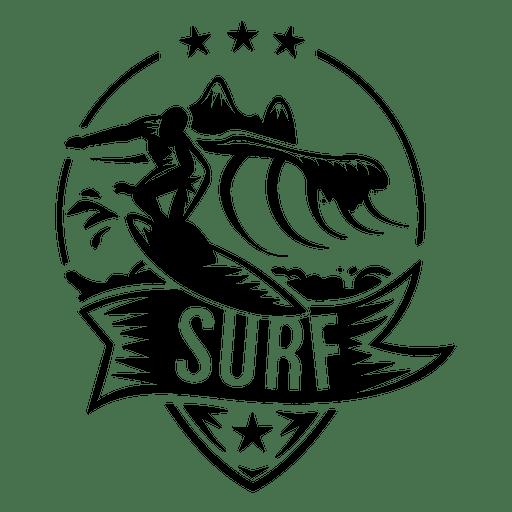 Wave surfing logo