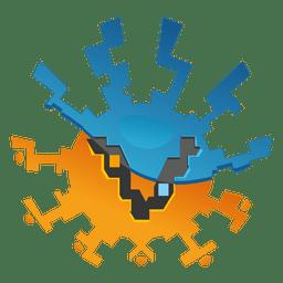Logotipo de la comercialización del orbe del zigzag