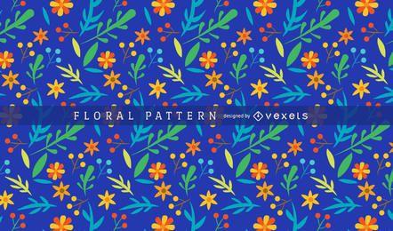 Brillante y colorido patrón floral