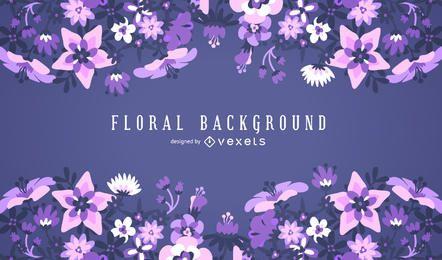 Quadro de fundo floral roxo