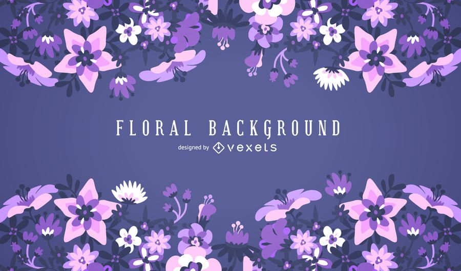 purple floral background frame vector download