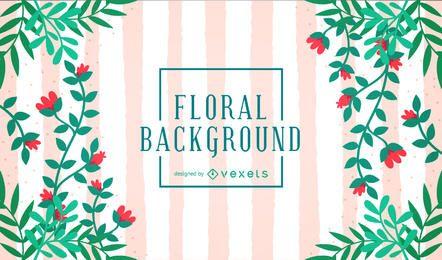 Cute floral background with stripes