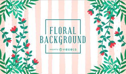 Fundo floral fofo com listras