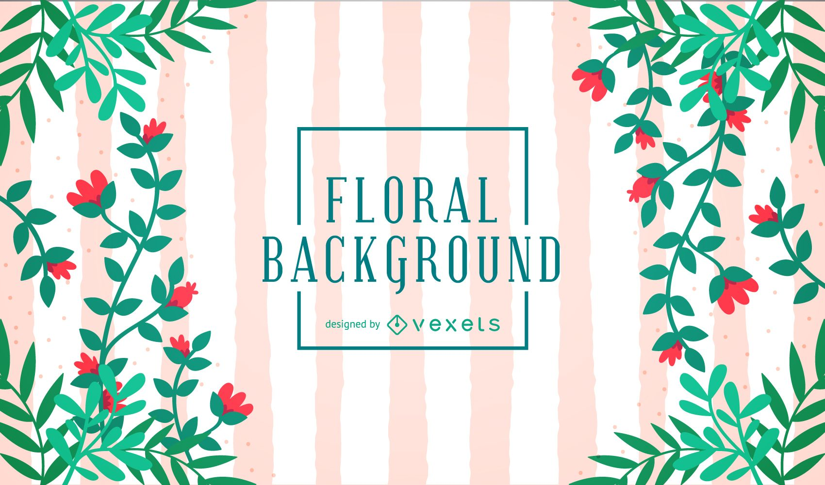 Cute Floral Background With Stripes Vector Download