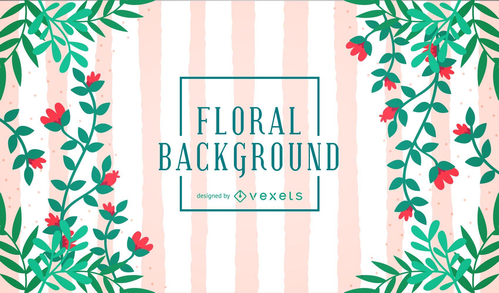 Lindo fondo floral con rayas