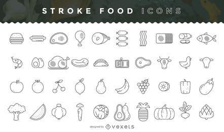 Pacote de ícones de comida Stroke