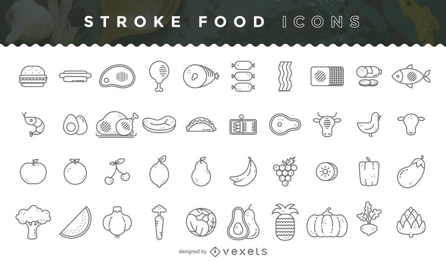 Pacote de ícones de comida de acidente vascular cerebral