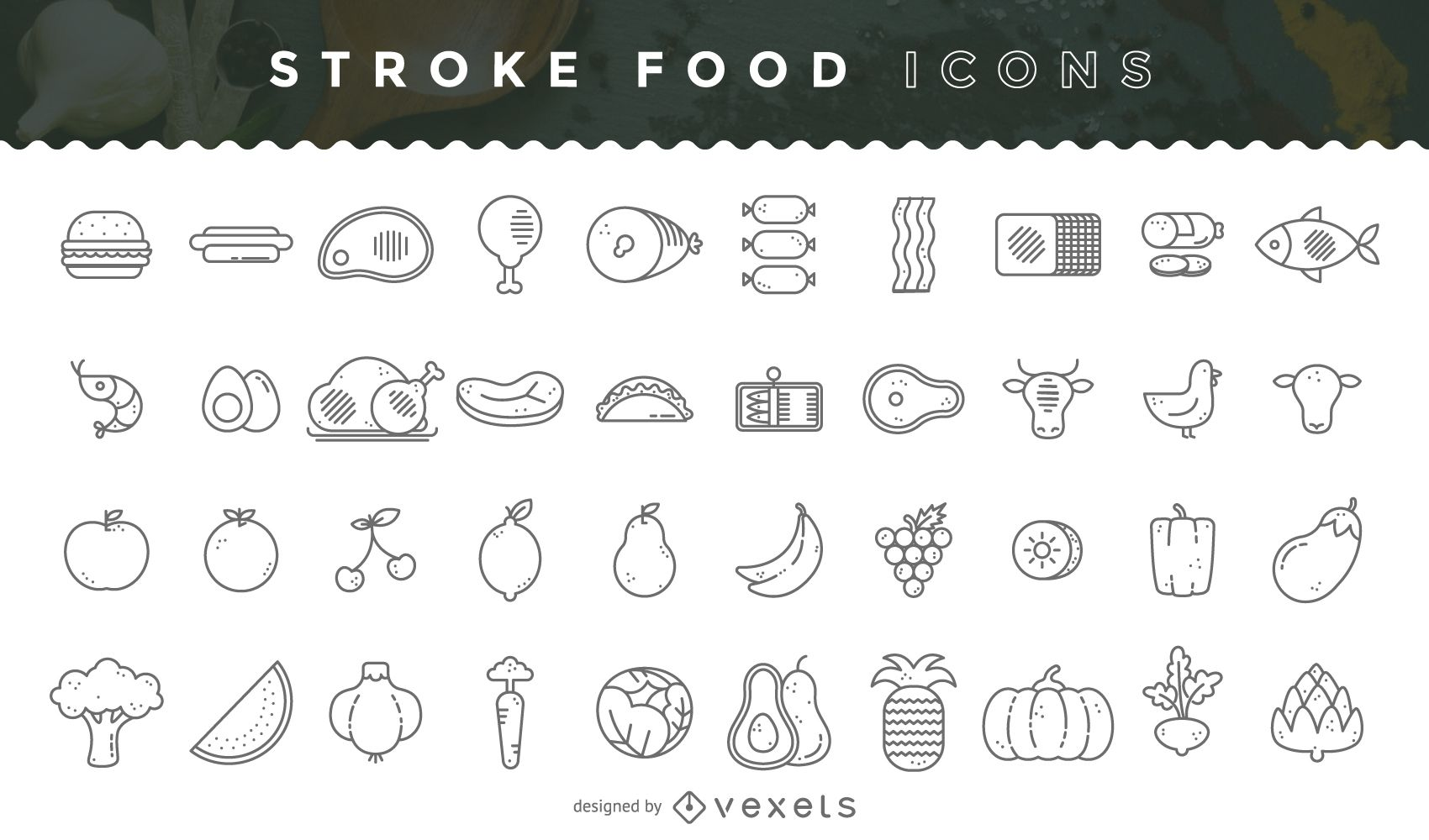 Stroke food icon pack