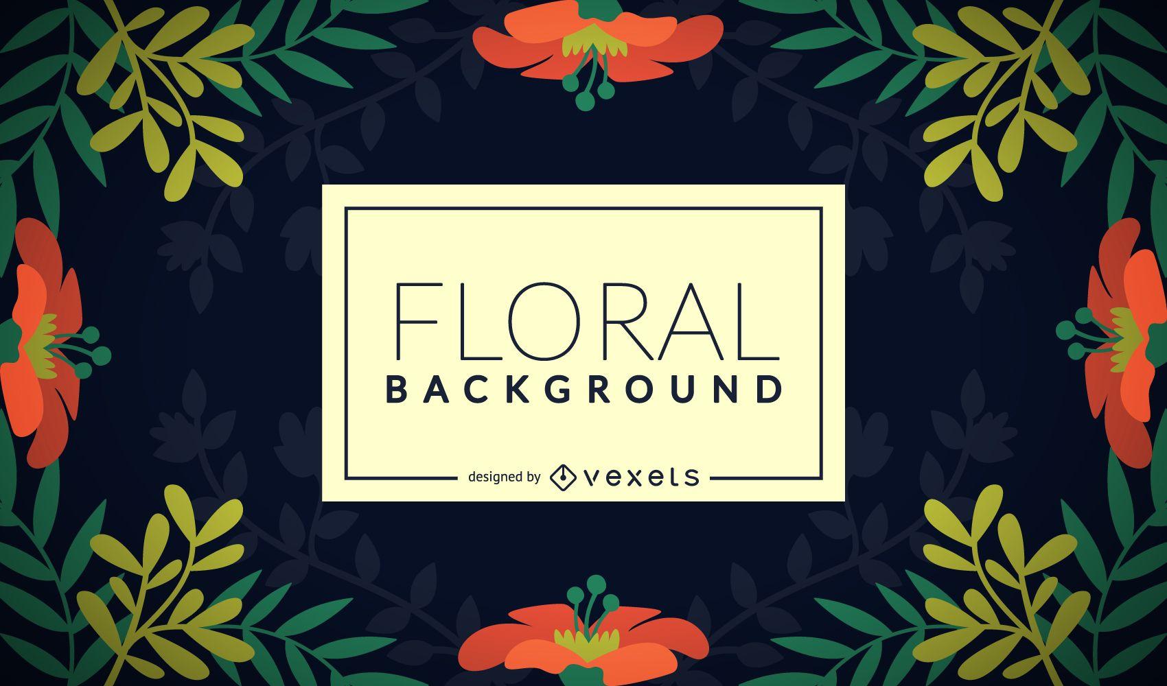Fondo de marco floral plano