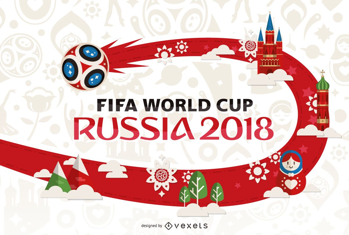 russia 2018 world cup poster design vector