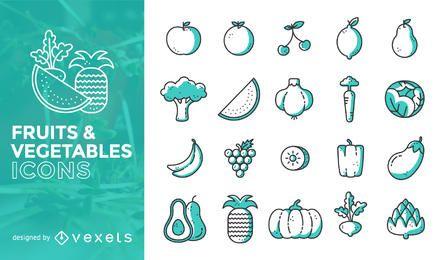 Flacher Anschlag Obst und Gemüse Ikonensatz