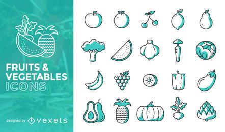 Flat stroke fruits and vegetables icon set