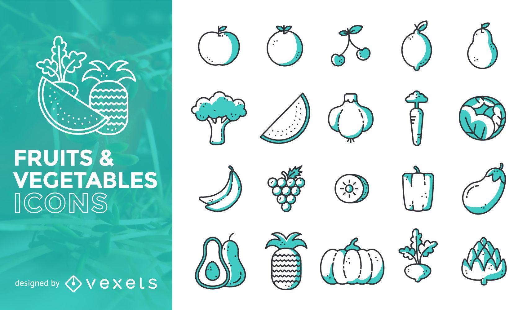 Conjunto de iconos de frutas y verduras de trazo plano