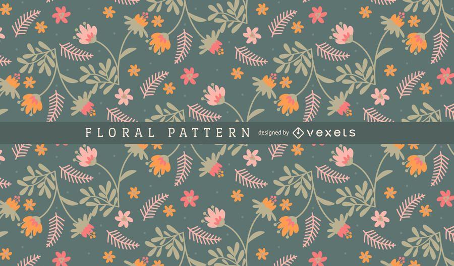 Flores e folhas de fundo padrão