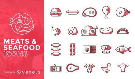 Conjunto de iconos planos de carnes y mariscos