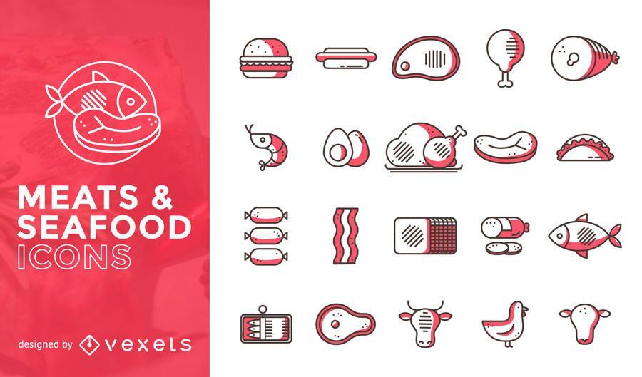 Conjunto de ícones plana de carne e frutos do mar