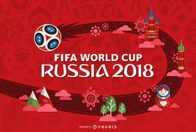 Rusia 2018 Copa del mundo de diseño en rojo