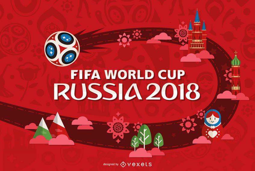 Rússia 2018 Copa do mundo em vermelho