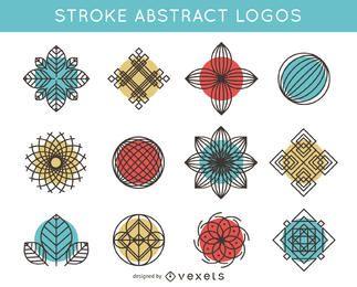 Pacote de logotipo de curso e abstrato