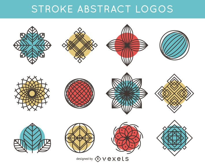 Stroke and abstract logo pack