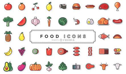 Coleção de ícones de alimentos de curso plano
