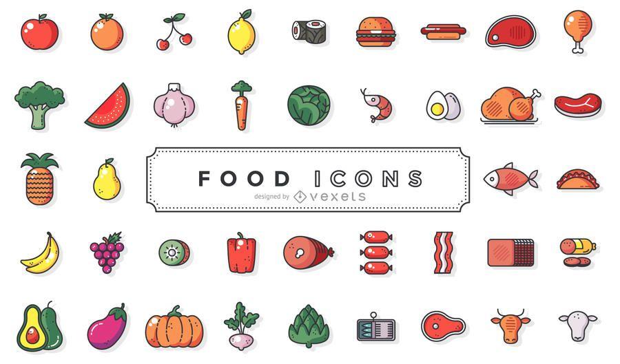 Colección de iconos de comida de trazo plano