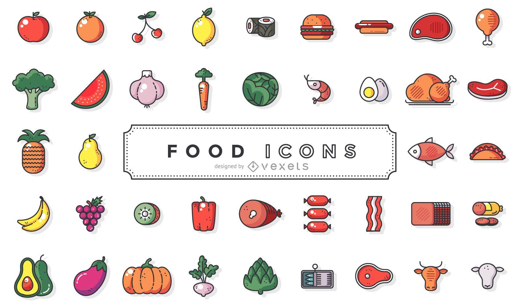 Sammlung von Flat Stroke Food Icons