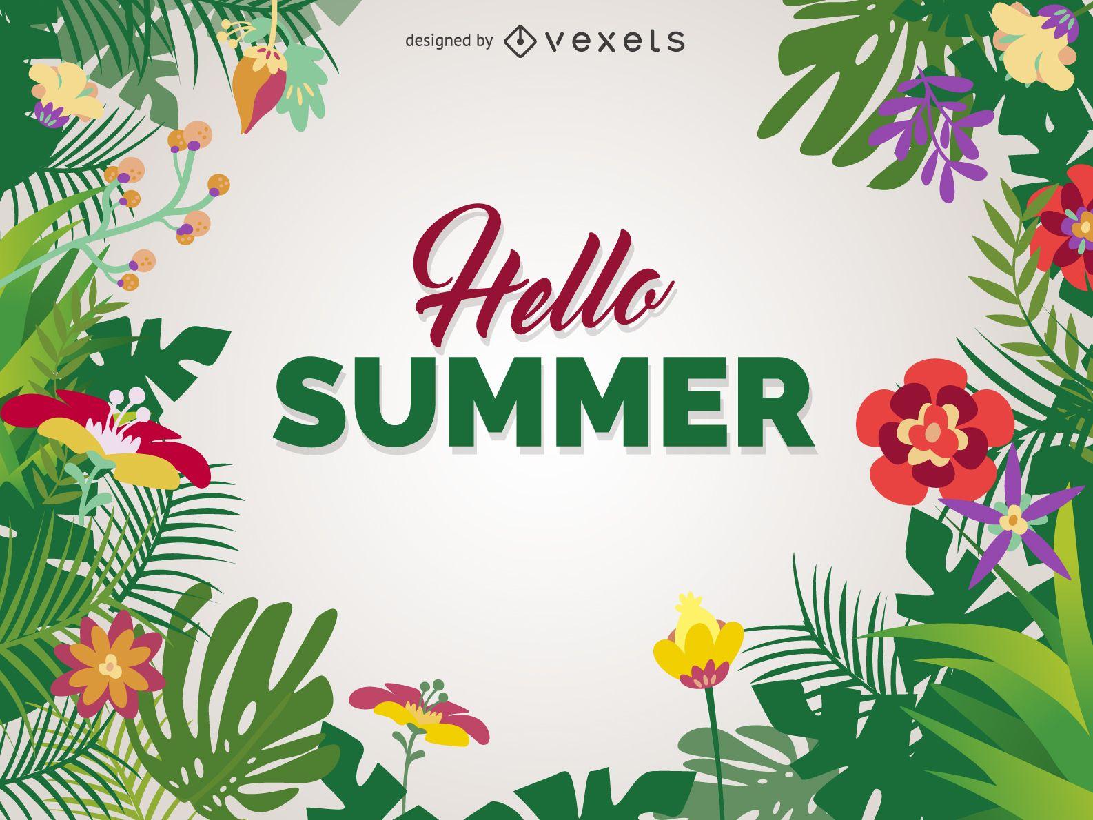 Hello summer poster design - Vector download