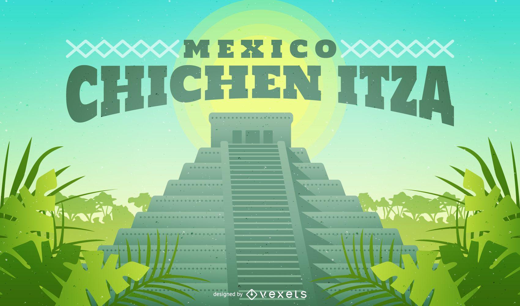 Chichen Itza Mexico illustration