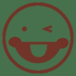 Língua sorridente ficar para fora