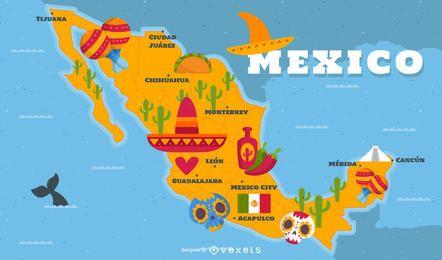 Ilustrado, México, mapa, tradicional, elementos