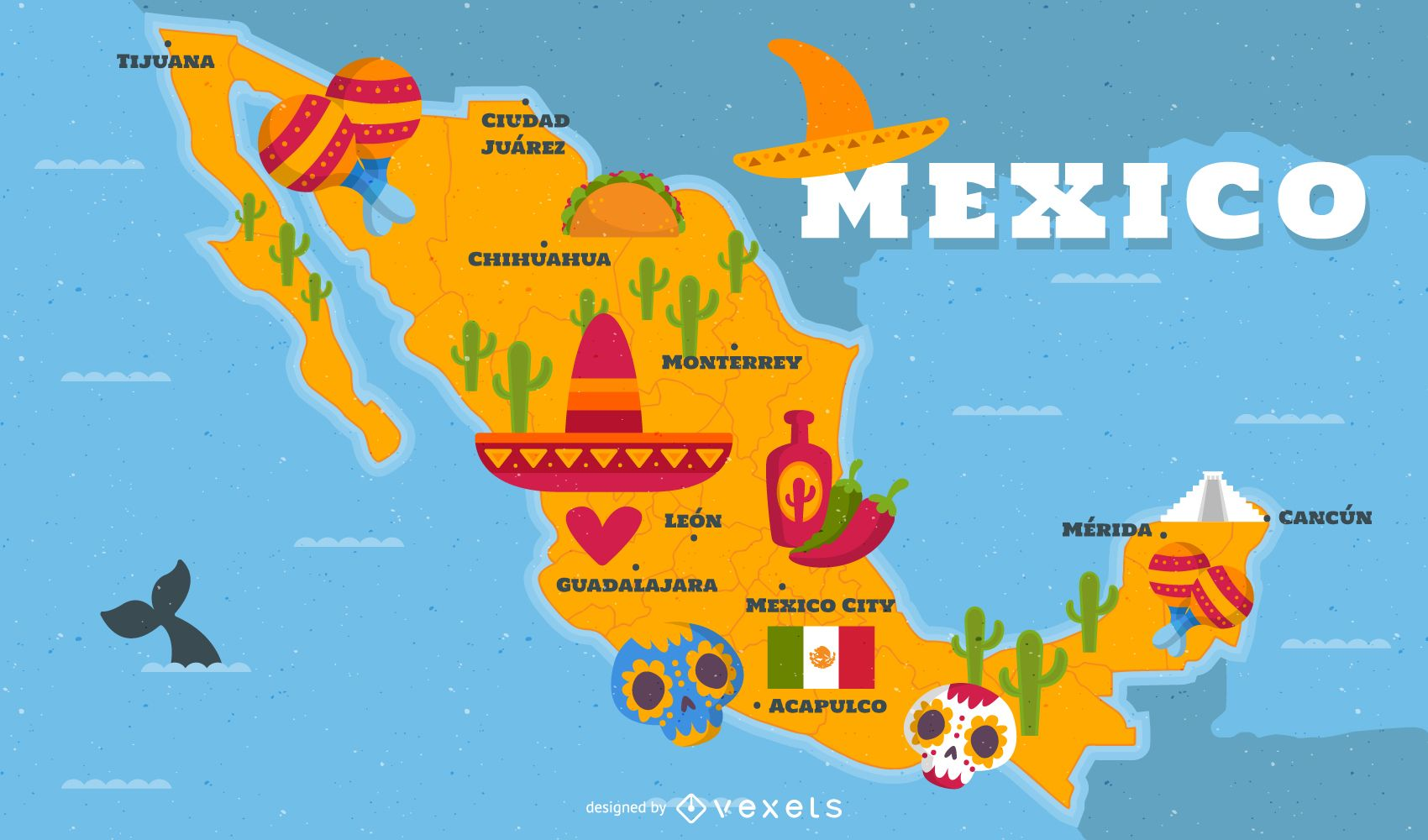 Illustrated Mexico Map With Traditional Elements Vector Download