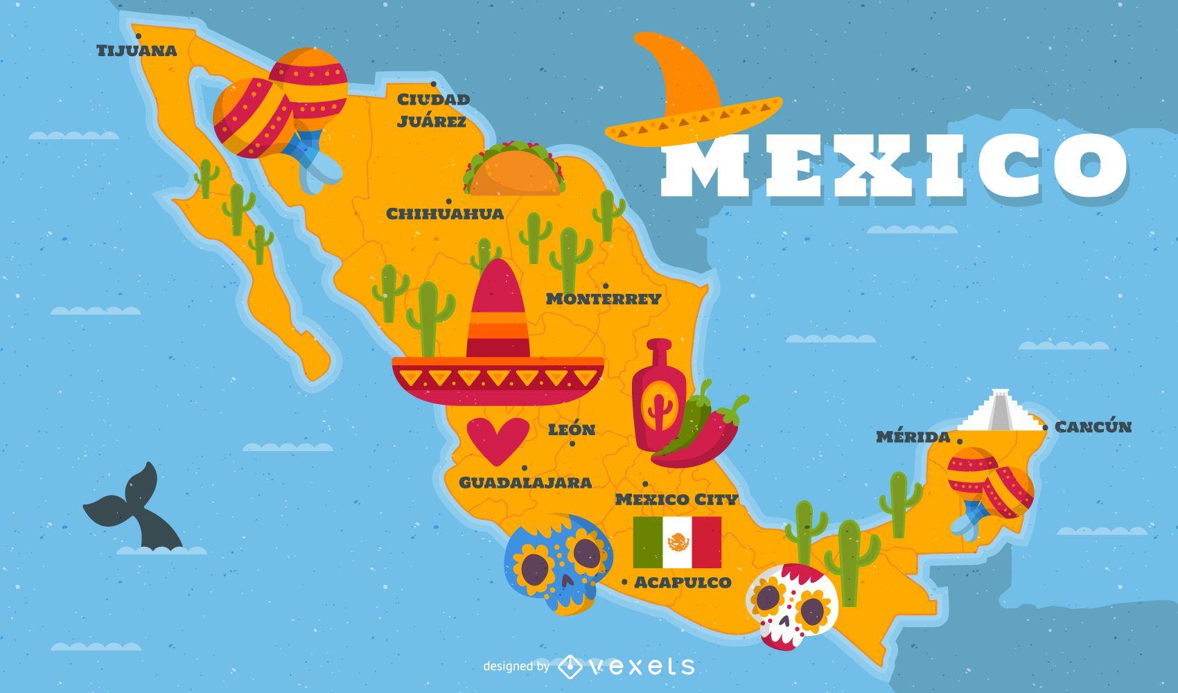 Mapa ilustrado do México com elementos tradicionais