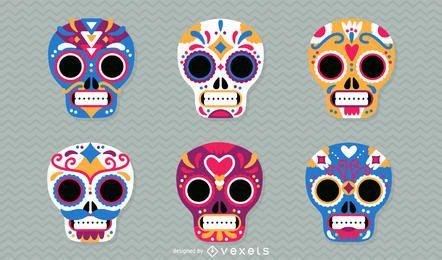 Dia, mortos, mexicano, crânios, Ilustração